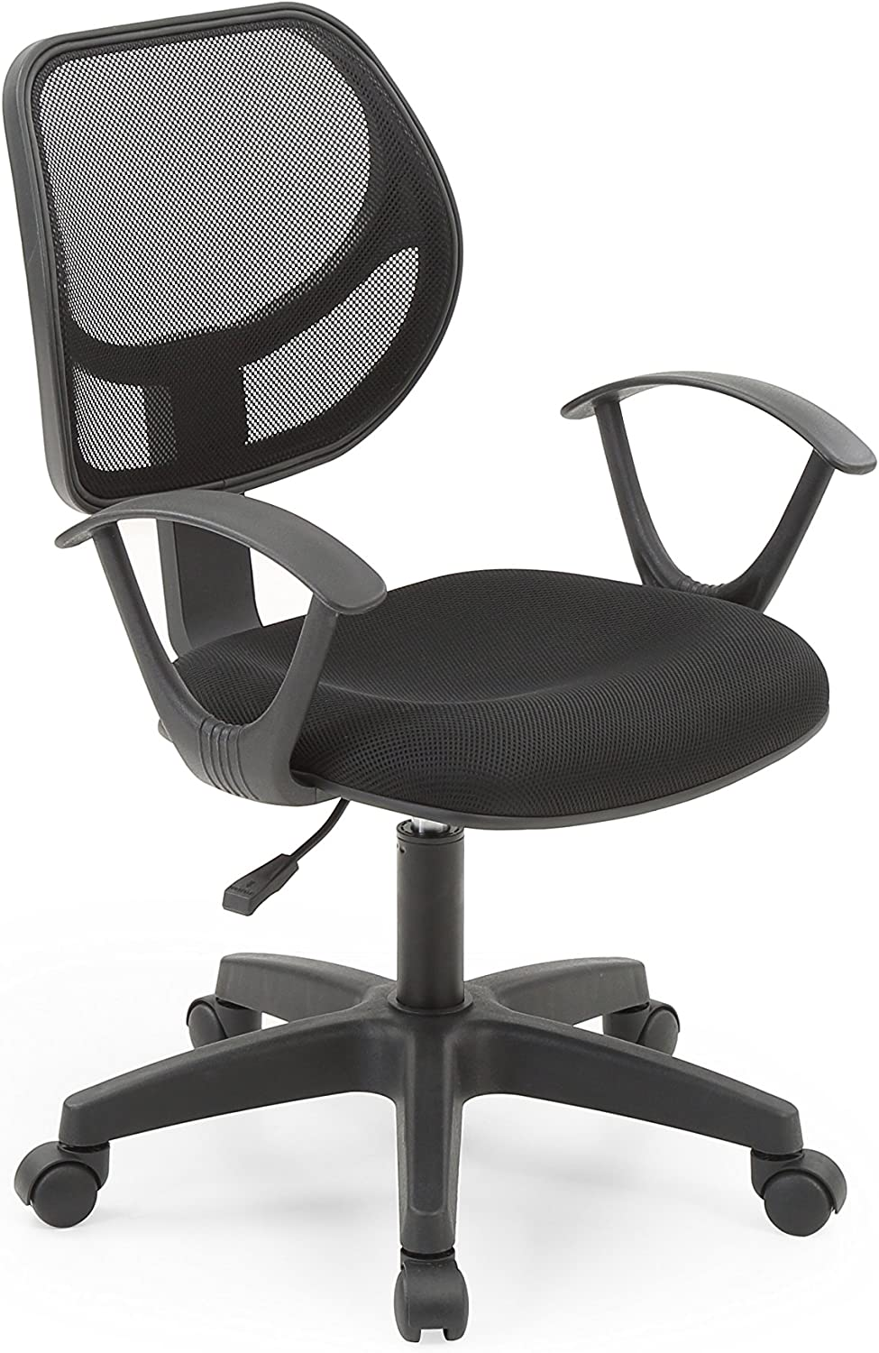 Hodedah Mesh, Mid-Back, Adjustable Height, Swiveling Task Chair with Padded Seat in Black