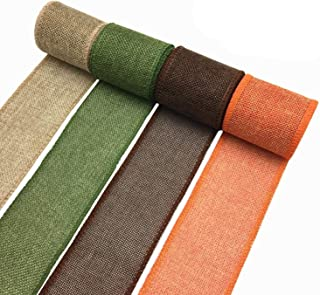 OZXCHIXU Burlap Wired Ribbon Rolls, Wrapping Burlap Ribbon Natural Orange Brown Olive Green Jute, for Christmas Crafts Dec...