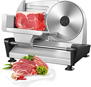 Meat Slicer For Home Use - Electric Deli & Food Slicer with Removable 7.5'' Stainless Steel Blade and 0-15mm Adjustable Thickness for Meat, Cheese, Bread, Include Food Pusher & Non-Slip Feet