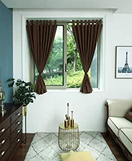 Timme Thermal Insulated Blackout Curtain 2 Panels Tap Top Chochlate, W52 x L36