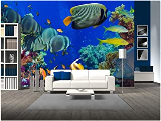 wall26 - Colorful Underwater Offshore Rocky Reef with Coral and sponges and Small Tropical Fish Swimming by in a Blue Ocean - Removable Wall Mural | Self-Adhesive Large Wallpaper - 100x144 inches