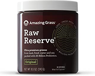 Amazing Grass Raw Reserve: Ultra Premium Greens and Probiotics, 2.5 Servings of Greens per Scoop, Original Flavor, 30 Servings