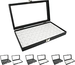 Novel Box Large Glass Top Black Leatherette Jewelry Display Case + 50 Count Jar Insert Tray in White + Custom NB Pouch