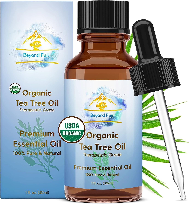 Organic Tea Tree Essential Oil, 100% Pure USDA Organic Therapeutic Grade All-Natural Extract for Skin, Acne, Hair, Scalp, Nails, Shampoo Melaleuca Alternifolia 30ml Beyond Fuji