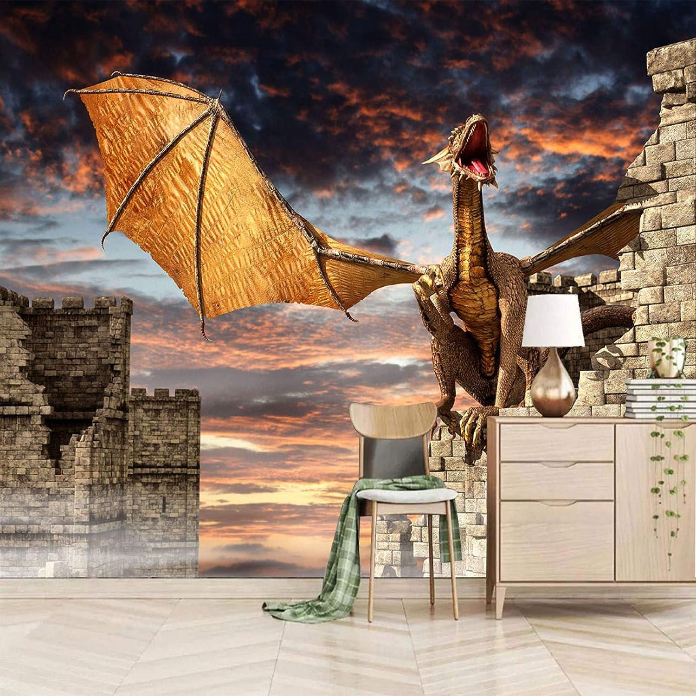 shop XiaoCha Anime Dinosaurs Castles Clouds 3D Self-Adhesive Sti Wall Detroit Mall