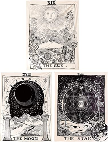 Kingmall Tarot Tapestry 3 Pack, The Sun The Moon The Star Tapestry Medieval Europe Divination Tapestry Wall Hanging T...