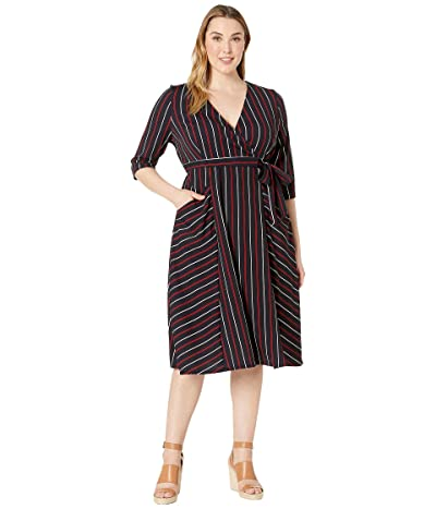 Kiyonna Harmony Faux Wrap Dress (Navy Stripe) Women