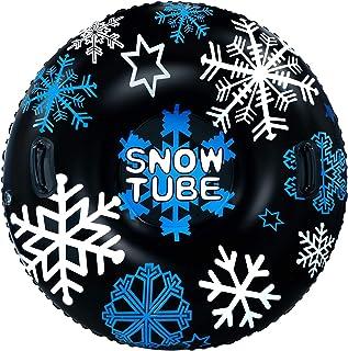 لوله برفی بادی GUOOU 48 اینچ با دسته ، سورتمه برفی سنگین ، لاستیک برفی ، لوله رودخانه ، شناور آب ، شناور سورتمه سوار ، برف سوار ، برف رانی ، اسنوبرد برای سرگرمی در فضای باز زمستان