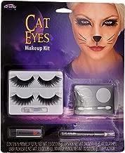 Cat Eyes Costume Complete Makeup Kit (Eye Shadow, Lipstick, Eyelashes, Lash Adhesive, Makeup Pencil, Applicator) Theater, Halloween