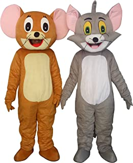Tom Cat and Jerry Mouse Adults Mascot Costumes Cosplay Fancy Dress Outfits