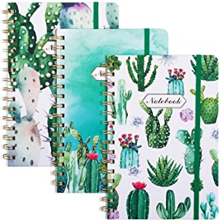 """EOOUT 3 Pack Spiral Notebook, A5 Hardcover Ruled Notebook, Lined Journal, 6""""x 8.5"""", 160 Pages, Twin-Wire Binding, Cute Cac..."""