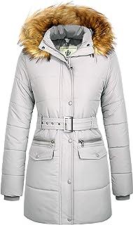 WenVen Women`s Winter Waterproof Thickened Puffer Jacket with Fur Hood