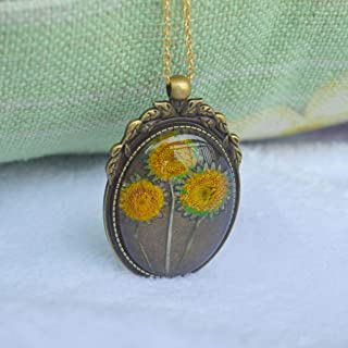 3 Sunflower Helianthus Real Flower Transparent Glass Pendant 18k Gold Plated Long Chain Necklace