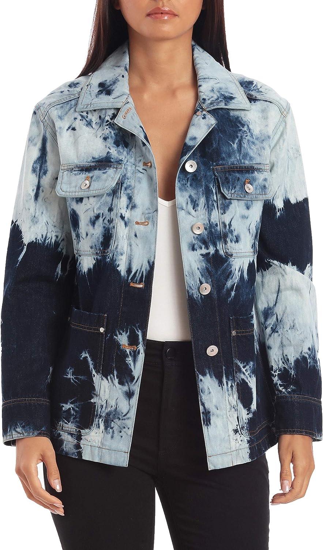 Avec Les Filles Women's Cotton Tie Dye Denim Trucker Jacket