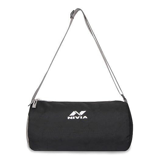 Nivia 6853 Polyester Basic Duffle Bag, Youth  Black Grey  Sports Duffles