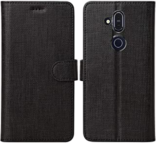 Foluu Nokia 7.2 Case, Nokia 6.2 Case, Wallet Case Cover Card Holster Canvas Flip/Folio Soft TPU Cover Bumper with Kickstand Ultra Slim Strong Magnetic Closure for Nokia 7.2/Nokia 6.2 2019 (Black)