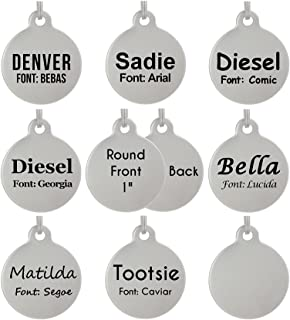 "Laser Etched Stainless Steel Pet ID Tags Custom Personalized for Dog & Cat Paw Print Bone Round Tag (1"" Round Double Sided)"