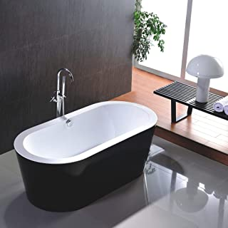 Vanity Art Freestanding Black Acrylic Bathtub   Modern Stand Alone Soaking Tub with Polished Chrome, Easy to Install, Round Overflow and Pop-up Drain - VA6812-BL