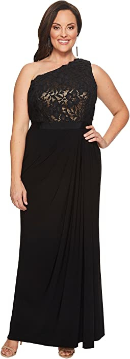 Adrianna Papell - Plus Size Metallic Lace Jersey Dress