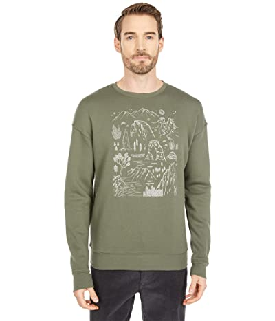 Parks Project Iconic Naturalional Parks Crew Sweatshirt (Olive) Clothing