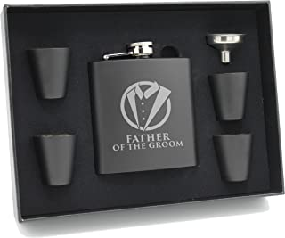 Tuxedo Hip Black Flask for Groomsmen, Best Man, Groom (Father of the Groom, 6oz Flask with Gift Set)