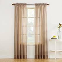 """No. 918 20101 Erica Crushed Texture Sheer Voile Rod Pocket Curtain Panel, 51"""" x 84"""", Taupe"""