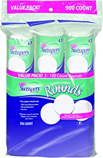 Swisspers 100% Cotton Rounds, Soft and Absorbent, 100 Rounds per Pack, 3-Pack (300 Rounds Total)