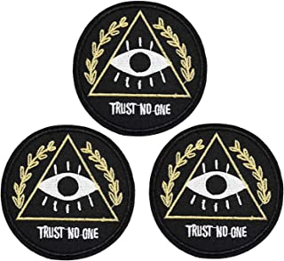 U-Sky Eye Iron on Patches for Jean Jackets, 3pcs Trust No One Embroidered Iron-on Patch for Backpacks, Sew-on Appliques for Clothing, Hand Bags, Shirts, Garment DIY Decor Accessary, Size: 2.9x2.9 inch