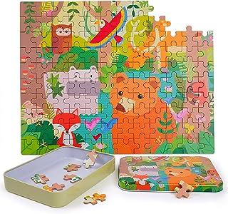 Lamlingo Juguetes Rompecabezas de Madera para Niños Edades 3 4 5 Años, 120 Piezas Juguetes Educativos para Niños Pequeños Juguetes Montessori Coloridos con Caja de Metal (Animales del Bosque)