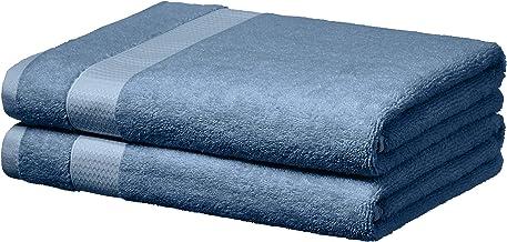 AmazonBasics Everyday Bath Towels, Set of 2, Cornflower Blue, 100% Soft Cotton, Durable