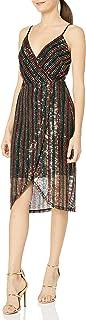 Women's Sequin Stripe Wrap Dress