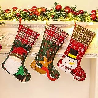 Christmas Stockings, 3 PCS 18 Inch Xmas Stocking Decorations, Santa Snowman Reindeer Xmas Character for Family Holiday Par...