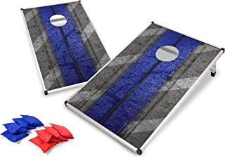 Backyard Champs Corn Hole Outdoor Game: 2 Folding Cornhole Boards and 8 Bean Bags, Aluminum Frame with MDF Board