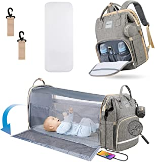 Diaper Bag Backpack, HEATOO Diaper Bag with Changing Station, Portable 4 in 1 Baby Nappy Bag with Bassinet Crib, Multifunction Travel Backpack with Stroller Straps Large Capacity