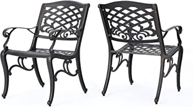 Christopher Knight Home Myrtle Beach Outdoor Aluminum Dining Chairs, 2-Pcs Set, Shiny Copper