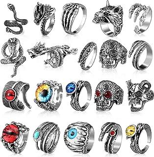20 قطعه Vintage Punk Rings Dragon Snake Rings قابل تنظیم Skull Rings جواهرات Gothic Punk Rings Vintage حلقه های جالب زنانه و مردانه
