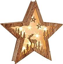 """LED Weihnachtsstern Beleuchtung Fensterbeleuchtung """"STERN"""" schöner Holzstern mit 10 warmweißen LEDs"""