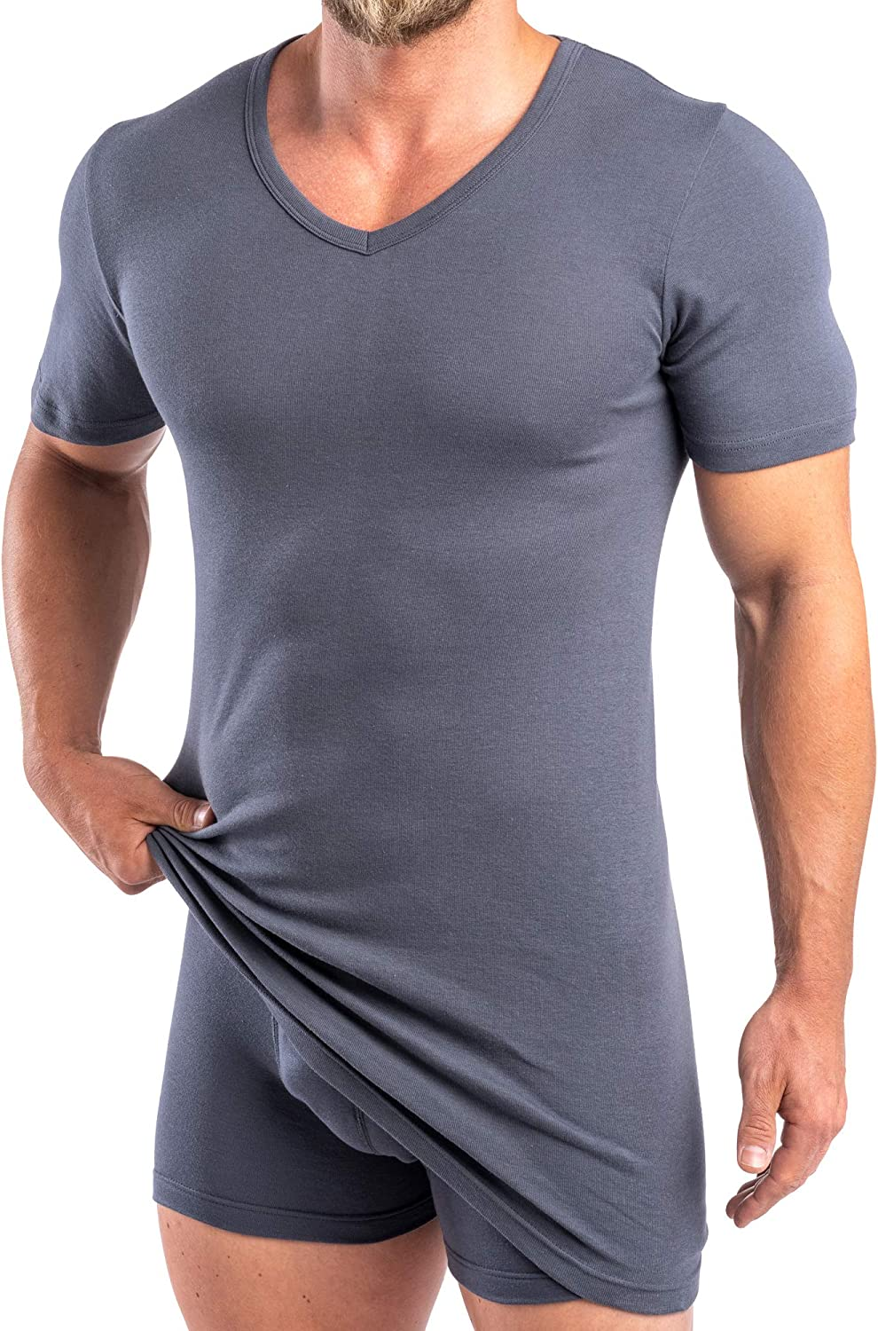 Made from Cotton//Modal HERMKO 164887 Pack of 2 Extra-Long Mens Shirt with V-Neck +10 cm