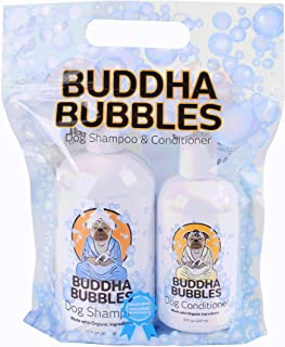 Buddha Bubbles Organic Natural Shampoo and Conditioner Set for Dogs Sensitive Hypo Allergenic,Anti-Fungal and Brightning Qualities Smells Great