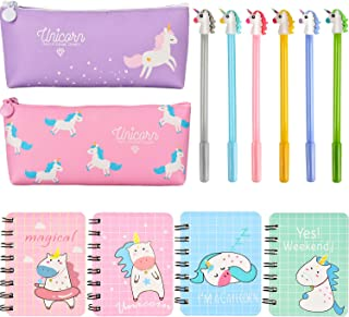 Jovitec 12 Pieces Unicorn Stationery Set, Include 4 Pieces Unicorn Notebooks, 6 Pieces Unicorn Pens and 2 Pieces Pencil Bags for Kids Home School Supplies