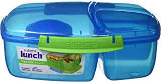 Sistema Lunch Collection Triple Split Lunch Box with Yogurt Pot Food Storage Container, 67.6 oz, Blue