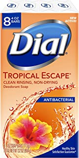 Dial Antibacterial Deodorant Bar Soap, Tropical Escape, 4 Ounce, 8 Bars