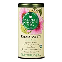 The Republic of Tea Organic Immunity Supergreen Tea, 36 Tea Bags, Elderflower, Echinacea And Matcha