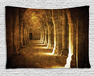 Ambesonne Gothic Tapestry, Archway in Dark Old Building Historical Architecture Photography Image, Wide Wall Hanging for Bedroom Living Room Dorm, 80