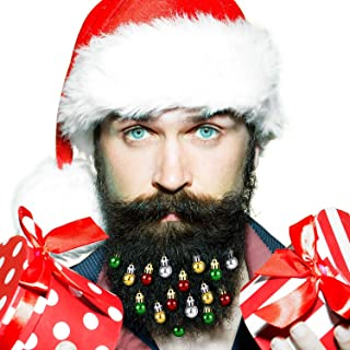 Yi-gog Beard Ornaments 24pc Beard Bulbs 6 Colorful Christmas Facial Hair Ball Baubles Santa Claus Beard Clip Men in The Holiday Spirit Christmas Festive hat & Curly White Beard(A Total 26)