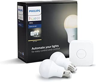 Philips Hue White Smart Bulb Starter Kit - Edison Screw E27(Compatible with Amazon Alexa, Apple HomeKit, and Google Assist...