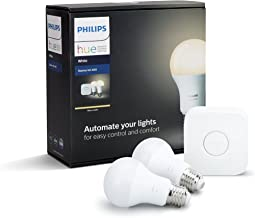 Philips Hue White E27 9W-60W Equivalent Smart Bulb Starter Kit for smarter and secured homes (Compatible with Amazon Alexa, Apple HomeKit, and Google Assistant)