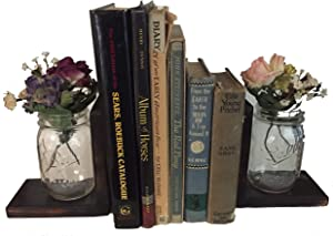 Mason Jars & Rustic Wood Tabletop Bookends, Set of 2 (Charred Finish) Made in USA