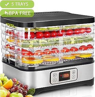 Hopekings Deshidratador de Alimentos con  5 Bandejas ajustables , Pantalla LCD,Temporizador, Temperatura ajustable,Deshidratador de Frutas y Verduras,250 W, Free BPA