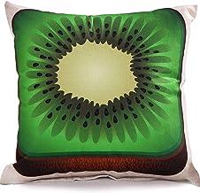 Chezmax Cotton Linen Blend Cushion Square Decorative Throw Pillow Fruit Series Cover Kiwi
